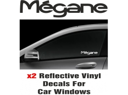 Renault Megane Window Decal Sticker Graphic Reflective Vinyl x2 decals | Stick and Glow Reflective..