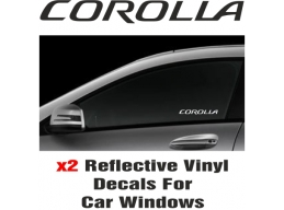 Toyota Corolla Window Decal Sticker Graphic Reflective Vinyl x2 decals | Stick and Glow Reflective..