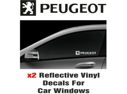 Peugeot Window Decal Sticker Graphic Reflective Vinyl x2 decals | Stick and Glow Reflective Decals