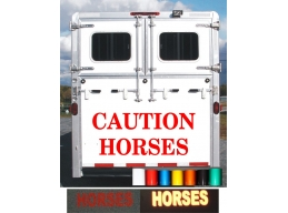 1x Reflective Large vinyl 'CAUTION HORSES' horse box trailer stickers decal | Stick and Glow Refle..