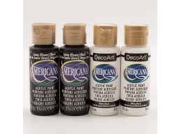 DecoArt Amercicana Pack of 4 Acrylic Paint Black & White