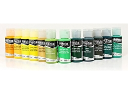 DecoArt Media Fluid Acrylics - Yellows/Greens - Set of 12