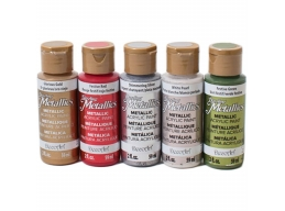 DecoArt Set of 5 x 2oz Metallic Paints Festive Paints Bundle