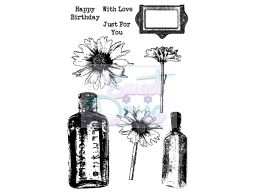 Sweet Dixie Clear Stamp Daisy and Bottles A6