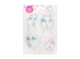 Jane Davenport - Mixed Media - Acrylic Stamp - Four Jane Faces