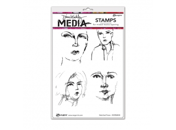 Sketched Faces - Dina Wakley Media by Ranger - Rubber Stamp
