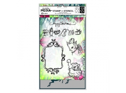 Dina Wakley - Stamp & Stencil Set - Scribbly Vintage Holiday