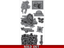 Graphic 45 Safari Adventure Cling Stamp Set - Welcome to the Jungle