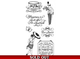 Graphic 45 Cafe Parisian Cling Stamp Set - 3
