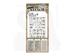 Stampers Anonymous, Tim Holtz , Mini Stencil Set 1