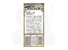 Stampers Anonymous, Tim Holtz , Mini Stencil Set 6
