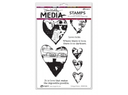 Collaged Hearts - Dina Wakley Media by Ranger - Rubber Stamp