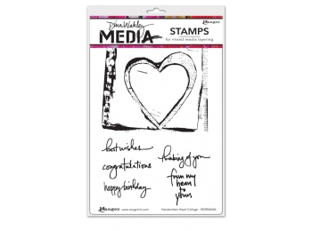 Handwritten Heart - Dina Wakley Media by Ranger - Rubber Stamp