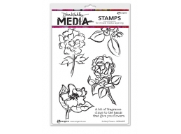 Scribbly Flowers - Dina Wakley Media by Ranger - Rubber Stamp