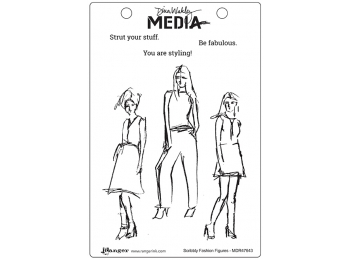 Scribbly Fashion Figures - Dina Wakley Media by Ranger - Rubber Stamp