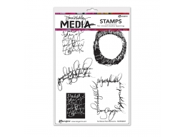 Scribbled Text Elements - Dina Wakley Media by Ranger - Rubber Stamp