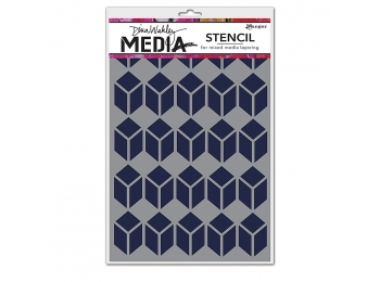 Stacked Squares - Dina Wakley Media Line by Ranger - Stencil