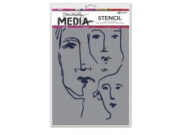 Scribbled Faces - Dina Wakley Media Line by Ranger - Stencil