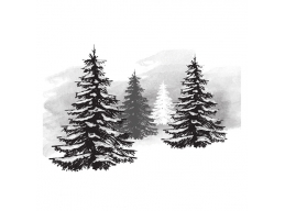 Pine Tree - Spellbinders 3D Cling Stamp 2.75