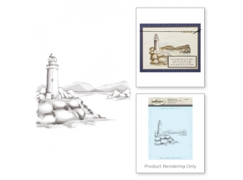 "Lighthouse - Spellbinders 3D Cling Stamp 4""X5.75"""