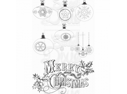 Sweet Dixie Merry Christmas Baubles Clear Stamp
