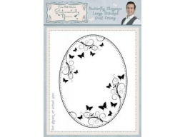 Butterfly Elegance Large Stitched Oval Frame Pre Cut Stamp