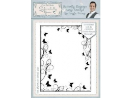 Butterfly Elegance Large Stitched Rectangle Frame Pre Cut Stamp