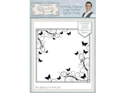 Butterfly Elegance Large Stitched Square Frame Pre Cut Stamp