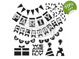Party Banners 6x6 inch Stencil