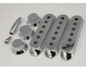 CHROME Pickup Covers 52mm or 50mm, Knobs & Tips for Stratocaster
