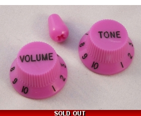 Pink Volume & Tone KNOBS for Ibanez guitar + optional matching Tip