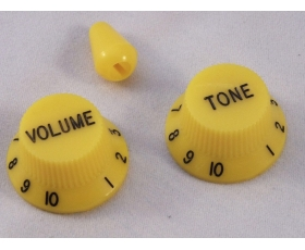 Yellow Volume & Tone KNOBS for Ibanez guitar + optional matching Tip