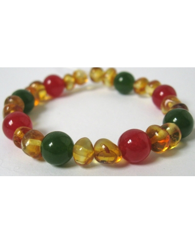 Holiday Christmas Custom Bracelet --  Polished Baltic Amber and Gemstone Beads