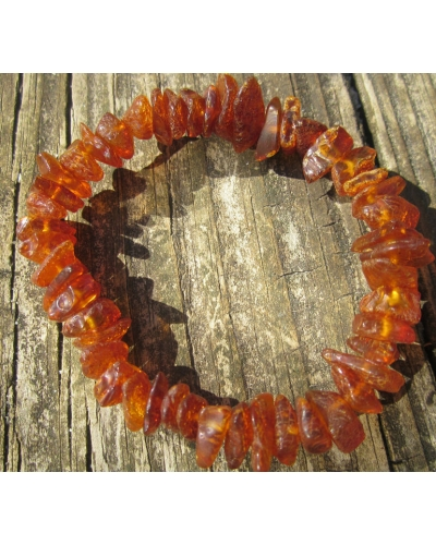 "Baltic Amber Nuggets Stretch Bracelet Adult Size  -- ""The Firefly"""