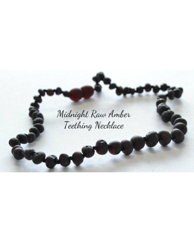 "Baltic Amber Baby Raw Teething Calming Round Beaded Necklace -- ""The Midnight RAW"""