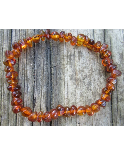 "Baltic Amber 7"" Calming Round Beaded Stretch Bracelet -- ""The Firefly"""
