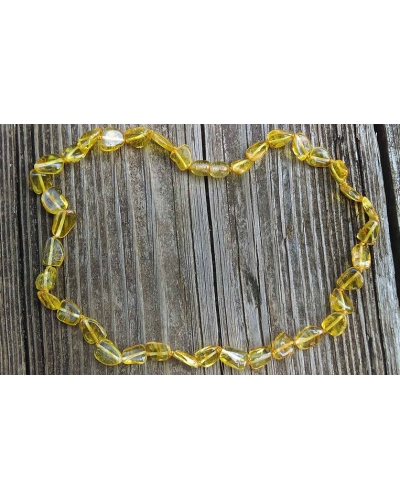 "17"" Luxury Polished Baltic Amber Necklace ""Lemon Leaves"" Adult Size"