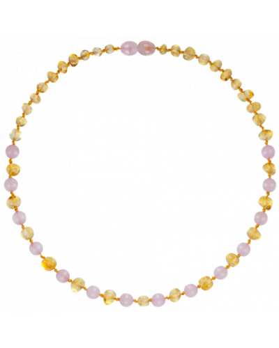"Luxury Baltic Amber and Rose Quartz Baby Teething Necklace Rounded Beads -- ""It's A Girl"""