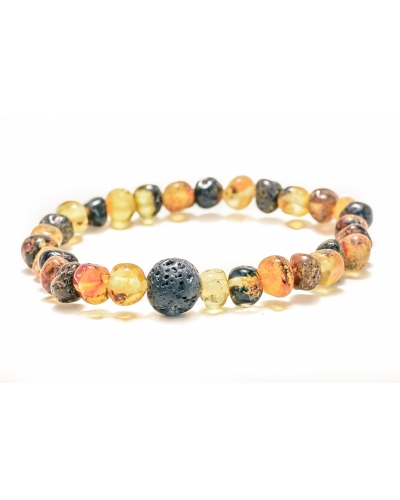 Natural Baltic Amber and Lava Bracelet 100% Natural Aromatherapy