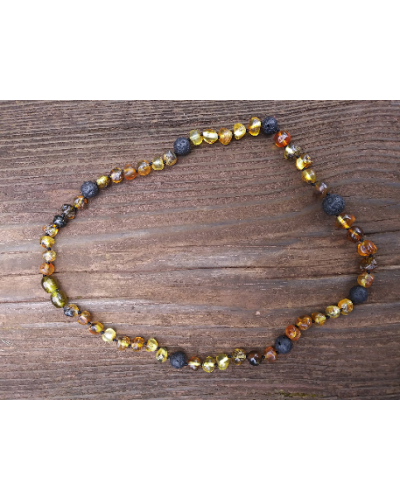 "Natural Baltic Amber and Lava Stone Necklace 17"" Certified Amber Aromatherapy"