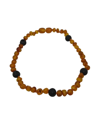 Natural Raw Luxury Baltic Amber and Lava Aromatherapy Teething Child's Necklace Certified Amber