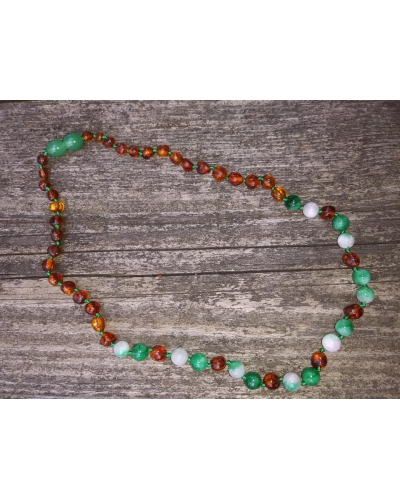 Luxury Baltic Amber and Green Jade YOUTH sized Necklace Rounded Beads 14""