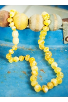Baltic Amber Baby Teething BUTTERY WHITE Luxury Calming Round Beaded Necklace --