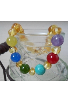 Custom Mother's Bracelet -- Polished Baltic Amber and Gemstone Beads