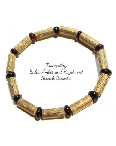 Tranquility Hazelwood and Baltic Amber Stretch BRACELET - Style 2 - Dark Amber