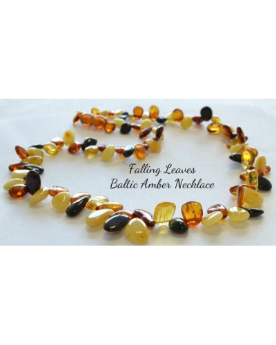 "18"" Luxury Multi-Colored Baltic Amber Necklace ""Falling Leaves"" Adult Size"