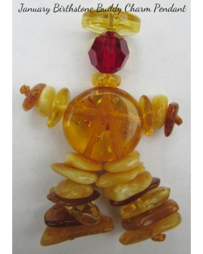 "Baltic Amber Swarovski JANUARY ""Birthstone Buddy Charm Pendant"""