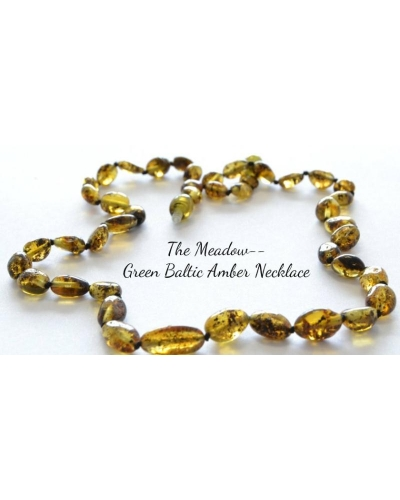 "20-21"" Luxury Green Baltic Amber Necklace ""The Meadow"" Adult Size Longer Length"