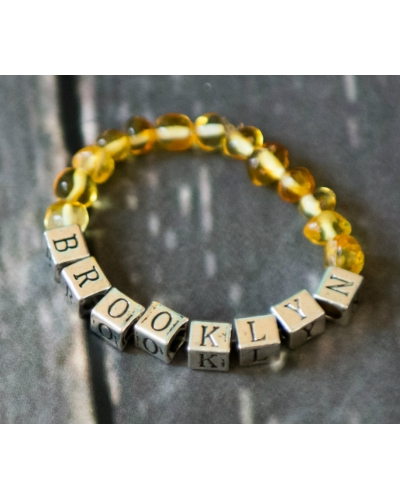 Personalized Polished Amber Stretch NAME Bracelet CUSTOM MADE