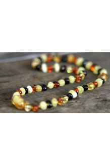 Baltic Amber Baby Teething Calming Round Beaded Necklace --